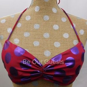 Victoria's Secret Red Purple Bikini Swim Top S